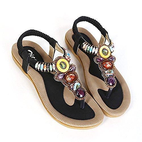 al mujer atadas cuentas S amp;L Black1 bohemio con estilo tobillo para Sandalias fw5zq8x4ax