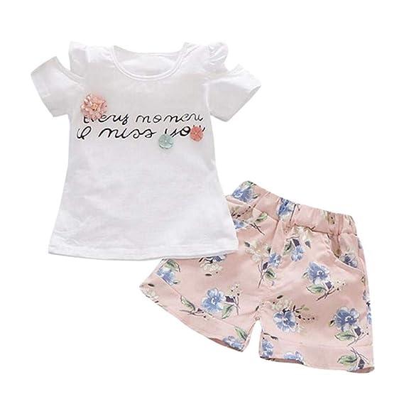 JYC Conjunto de Ropa para Niñas, Conjuntos para niñas Bebe, Niñito Niños Bebé Niña Carta Camiseta Tops+Pantalones Cortos Florales Equipar Ropa Conjunto: ...