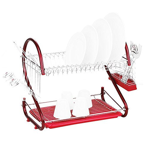 Dish Drying Rack - SODIAL(R) Stainless Steel 2 Tiers Kitchen Dish Cup Drying Rack Drainer (Color: Red)