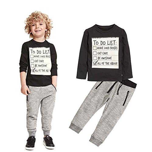 xirubaby Kids Toddler Boys Handsome Black Blouse Tshirt+ Gray Casual Pants Outfits (130/5T, Black)