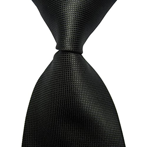 KissTies Mens Jet Black Solid Tie Pure Color Necktie (Formal Black Tie)