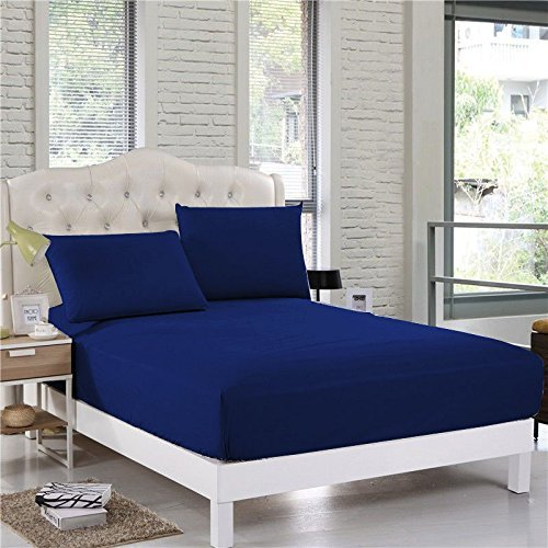 600Thread-Count 3PC- Fitted Bedding Set Short Queen SizeFit up to 16'' Deep Pocket Navy Blue Solid 100%Egyptian Cotton
