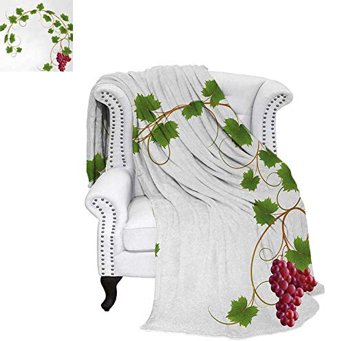 (Throw Blanket Curved Ivy Branch Deciduous Woody Wines Seeds Clusters Cabernet Theme Print Velvet Plush Throw Blanket 50