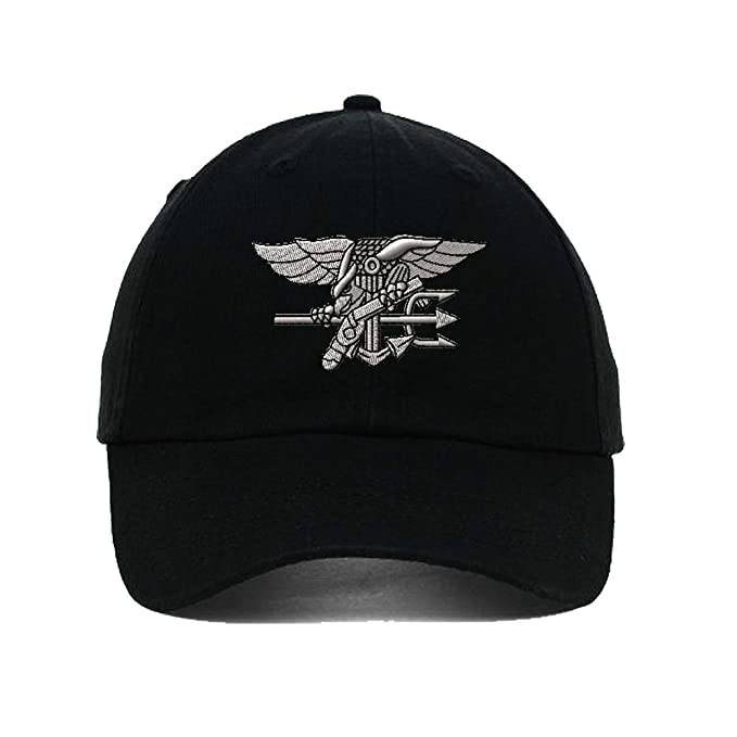 b8ab0d9ff Amazon.com  Navy Seal Silver Logo Embroidery Twill Cotton 6 Panel ...