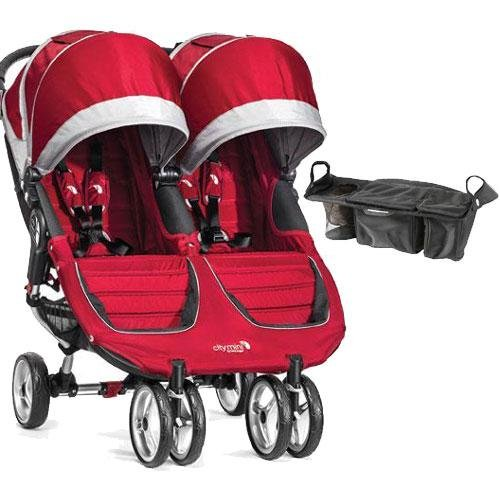 Baby Jogger - City Mini Double Stroller with Parent Console - Crimson Gray by Baby Jogger