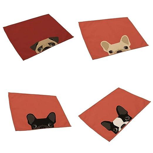 4pcs Esteras de Tabla Alfombra de Mesa de Comedor Diseño Animal ...