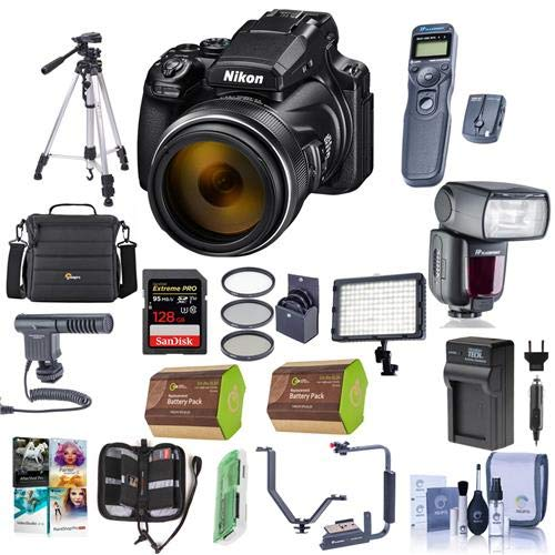 Nikon COOLPIX P1000 Digital Point & Shoot Camera – Bundle with Camera Case, 128GB SDHC U3 Card, 77mm Filter Kit, 2X Spare Battery, Tripod, Remote Shutter Trigger, Zoom Flash, Video Light, and More