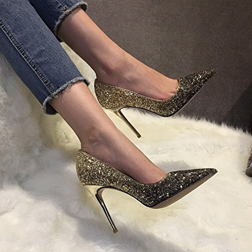 Zapatos de Tacón Alto con Cristales Puntiagudos UN