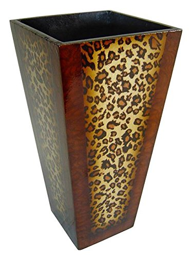 Wooden 12 Inch Tall Planter With Leopard Print Amazon
