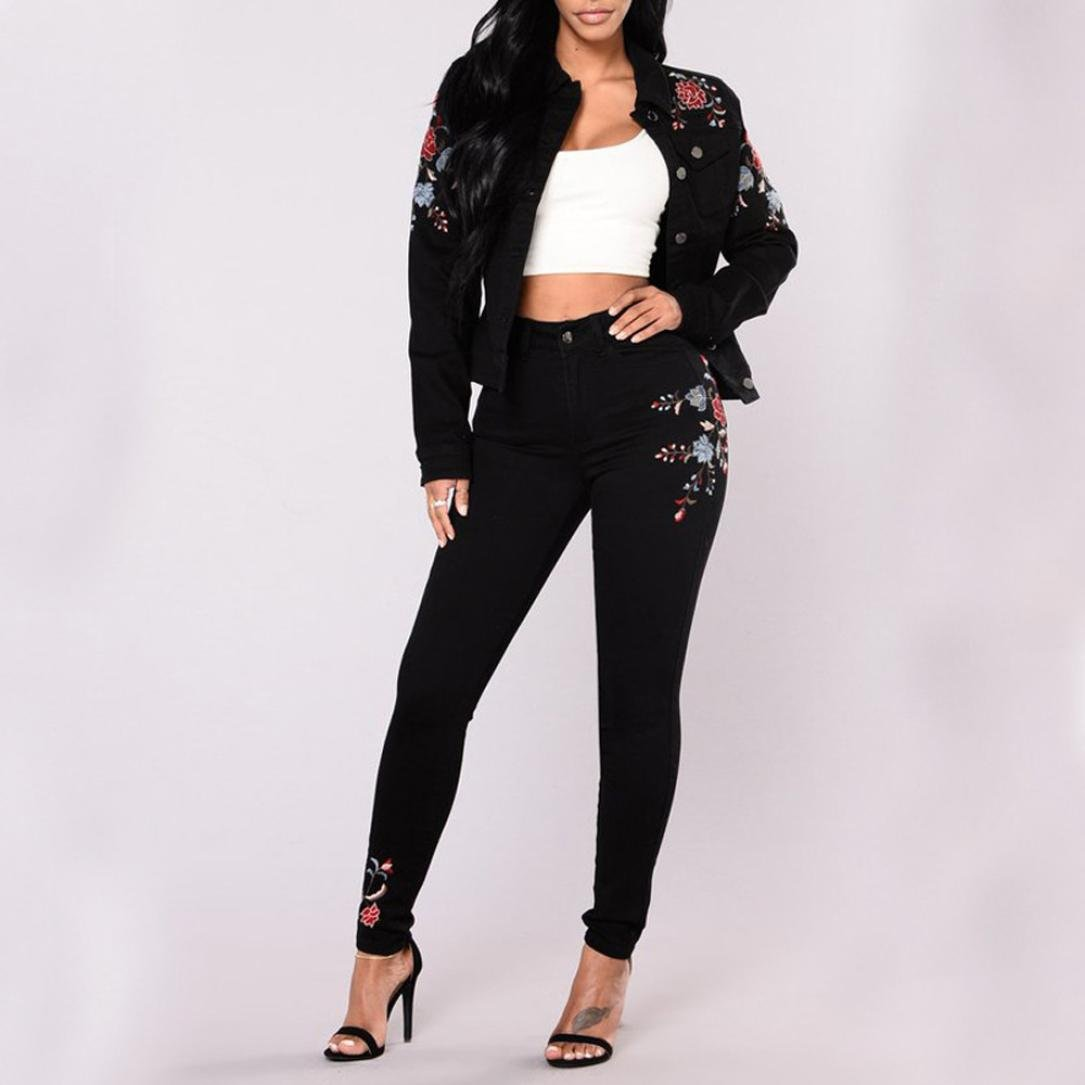 1164580ab2 Rambling Women High Waist Jeans Floral Pencil Jeans Trousers Ladies  Embroidered Denim Pants