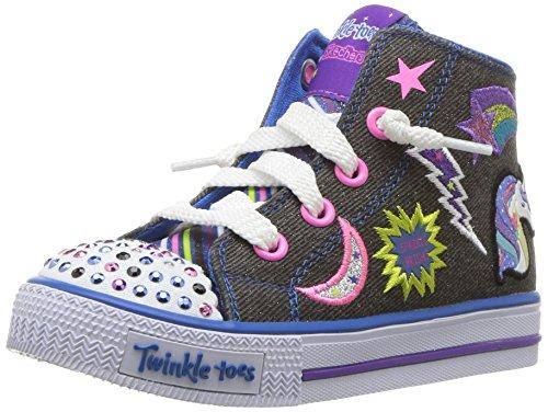 Skechers Kids Girls' Shuffles-Twist N' Turns Sneaker,BLAC...