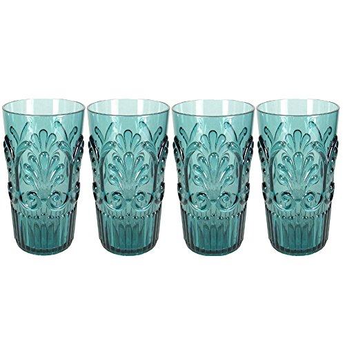 Le Cadeaux Fleur Teal Blue 4 Piece Highball Glasses Set (Blue Green Dinnerware)