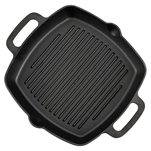 Pre-Seasoned Cast Iron Skillet Fry Pan Square Griddle with Ribs Nonstick Griddle Grill Cookware Black with Silicone Handle (square griddle-two handles)
