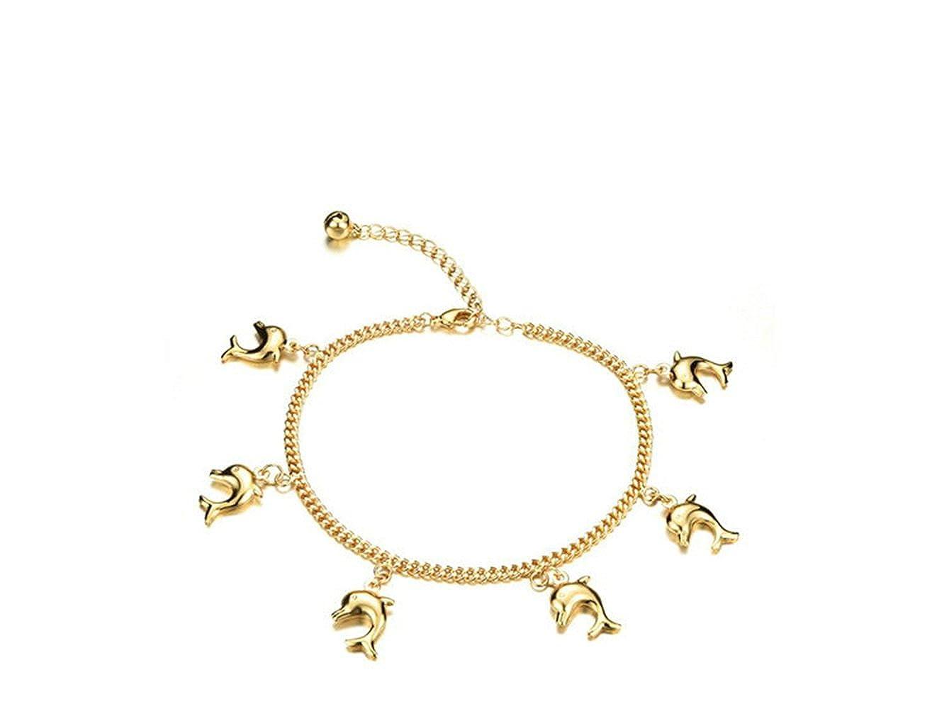 Onefeart Plaqué Or Bracelet de Cheville Femmes Fille 20CM+5.5CM Chaîne étendue Pied Joli Décoratif Forme des Dauphins