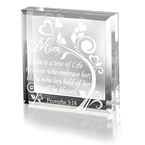 Glass Mother Plaque (Kate Posh Mom Proverbs 3:18 - Keepsake & Paperweight)