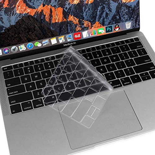 MOSISO Premium Ultra Thin TPU Keyboard Cover Compatible with MacBook Air 13 inch 2019 2018 Release A1932 with Retina Display & Touch ID, Soft Protective Transparent Skin Protector, Clear