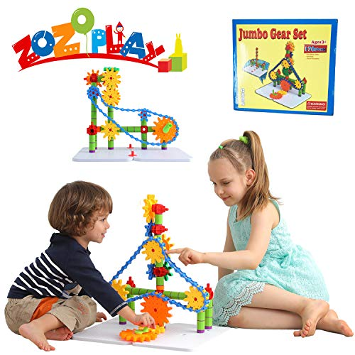 ZoZoplay STEM Learning Blocks Deluxe Gears Building Set Spinning Gears with Resizeable Interlocking Chain, Connector Pieces and 2 Pegboards, 170 Pieces, Ages 3+