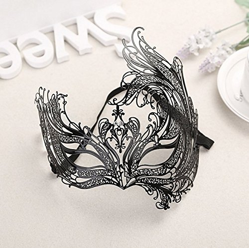 [Halloween black metal phoenix hollow diamonds cosplay masquerade half face mask] (Dazzling Devil Costumes)