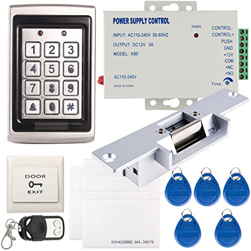 UHPPOTE Full Compl UHPPOTE Full Complete Metal Shell 125Khz Stand-Alone  Door Access Control Kit with Electric Strike Lock Power Supply