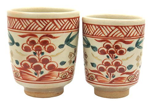Akae Kiyomizu yaki 3inch Set of 2 Japanese Tea Cups Beige Ceramic by Watou.asia