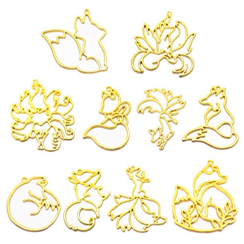 SimpleLif 10Pieces Smart Fox Animal Pendant Open Bezel Setting UV Resin Craft Jewelry Making(Gold)