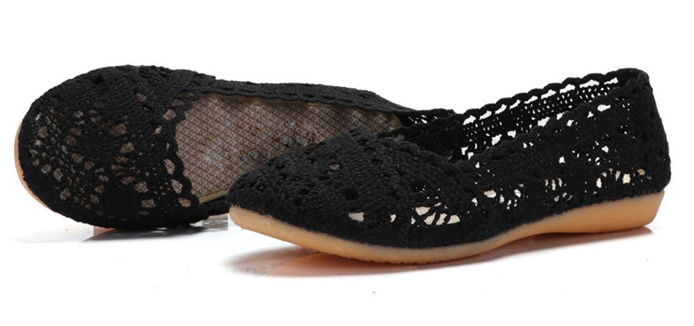 Soojun Women's Soft Breathable Hollow Out Crochet Flats, US 8, Black by Soojun (Image #3)