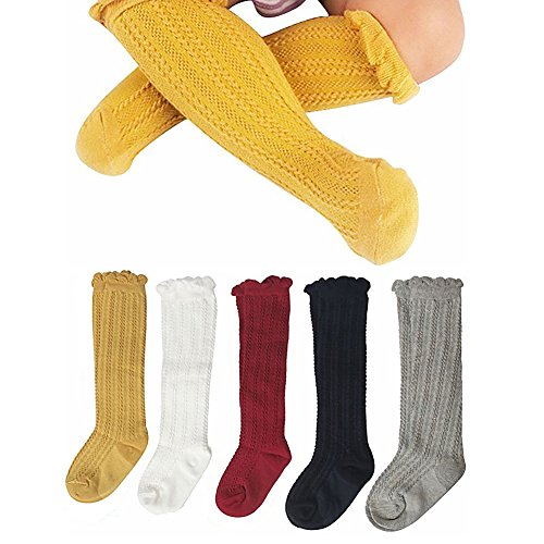 DmsBanga 5 Pairs Color Cute Kids Infant Toddlers Children Baby Unisex Girls Boys Newborn Cable Knit Knee Clothing Pants Warm Winter Cotton High Stockings Socks Christmas Birthday Gift Set Pack (S)