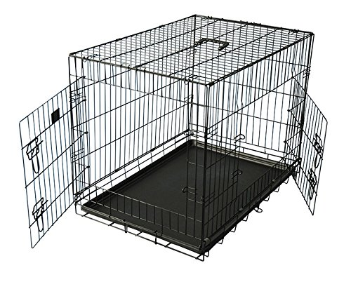 Pettree Dog Crate with Divider, Double-Doors Folding Pet Cage with Heavy Duty Metal Wires, Removable ABS Plastic Floor Tray Carry Case with Handle XL Extra Large (20) - Replacement Dog Crate Handles