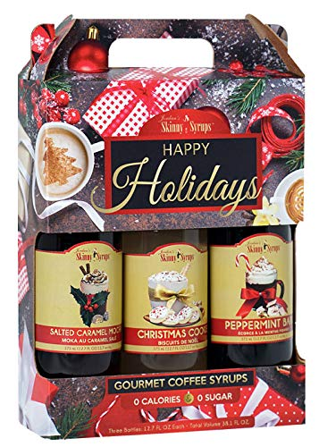 Jordan's Skinny Syrups Happy Holidays Gourmet Coffee Syrups - Variety Pack of 3 - Salted Caramel Mocha, Christmas Cookie, Peppermint Bark
