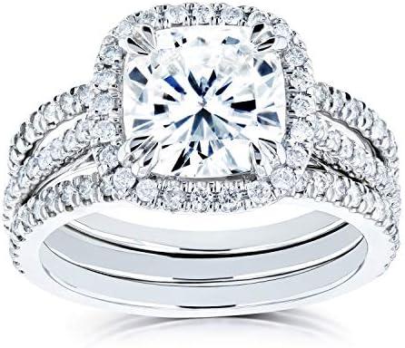Kobelli Cushion Forever One Moissanite Halo Bridal Rings Set 2 1/2 CTW 14k White Gold (DEF/VS, GH/I)