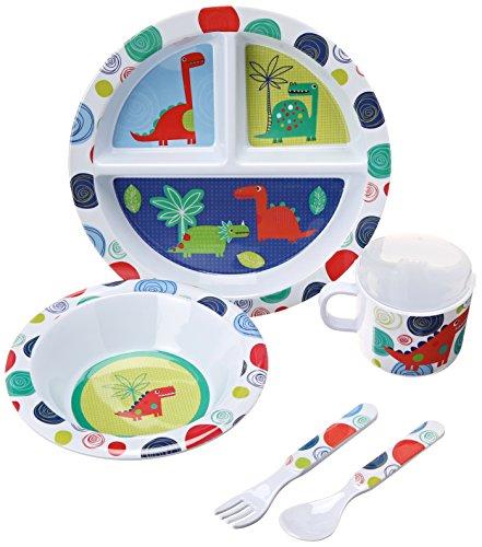 UPC 617390458726, C.R. Gibson 5 Piece Kids Dinnerware Set, FDA Approved Melamine, BPA Free, Dishwasher Safe- Dinosaur Friends