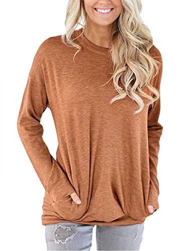 Hooded Lace (Meow Meow Lace MML Women's Long Sleeve Round Neck Sweatshirt Loose T Shirt Blouses Tops Caramel L)