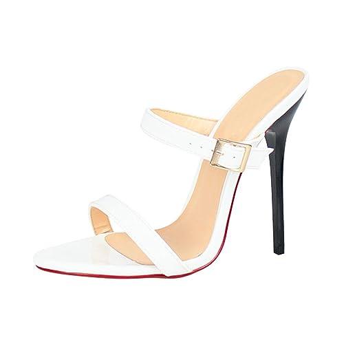 9d28f1e2a30c2 OCHENTA Sandales Mules Femme Talon Aiguille Haut 13CM Grande Poiture  Travesti  Amazon.fr  Chaussures et Sacs