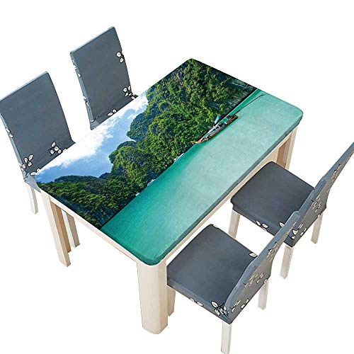 PINAFORE Fitted Polyester Tablecloth Tourist Diving in The sea Phi Phi Leh South of Thailand Summer & Outdoor Picnics W73 x L112 INCH (Elastic Edge) (Table South Sea Rattan Rattan)