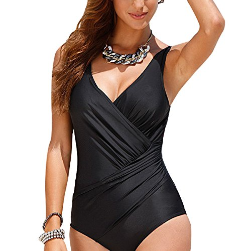 Tempt-Me-Women-One-Piece-Plus-Size-Deep-Plunge-Front-Ruched-Cross-Monokini-Swimsuit