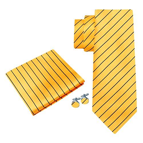 Twenty Dollar Tie Men's Blitz Stripe Tie Pocket Square Cuff-links Set (Yellow/Black)