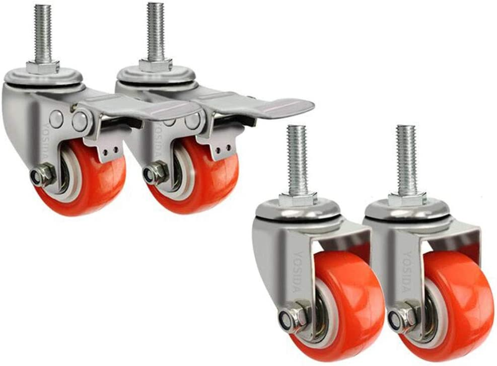 Pack Of 4 Color : T3, Size : 2inches 4 pieces 120kg Total Load Capacity MUMA 1.5//2 Inch Swivel Caster Wheels PU 360 Degree Threaded Stem Caster Wheel M10 X 25mm