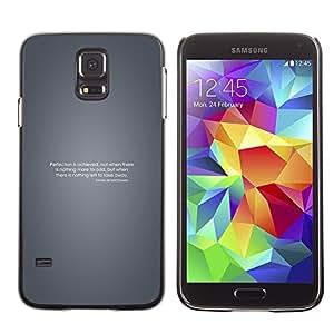 KLONGSHOP // Cubierta de piel con cierre a presión Shell trasero duro de goma Protección Caso - Perfección motivación - Samsung Galaxy S5 //