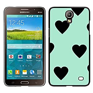 [Neutron-Star] Snap-on Series Teléfono Carcasa Funda Case Caso para Samsung Galaxy Mega 2 [Heart Teal Mint Green Black Pattern]
