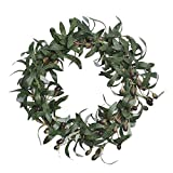 FAVOWREATH 2018 Vitality Series FAVO-W106 Handmade 12 inch Laurel/Eucalyptus Leaf,Berry Grapevine Wreath for Summer/Fall Festival Front Door/Wall/Fireplace Every Day Nearly Natural Home Hanger Decor