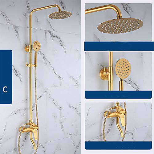 CHUANG TIAN Bath & Shower Systems,Bathroom Mixer Shower Set with Rainfall and ABS Handheld Shower Sprayer Bath Shower Faucet Wall Mount Mixer Tap (Gold Brushed),C