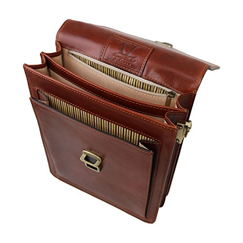 Tuscany Leather David Leather Crossbody Bag - large size Brown by Tuscany Leather (Image #5)