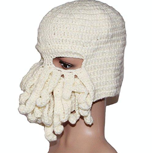 Viento Knit Sombrero A03 ECYC® Octopus Esquí MáScara Beanie Tentacle blanco Cap De Funny U1qq0PtRX