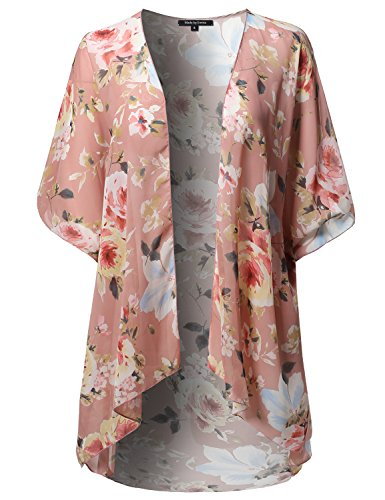 Floral Short Sleeve Open-Front Kimono Style Cardigan Made in USA Peach Yellow M
