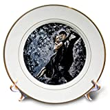 3dRose Art by Mandy Joy - Dancers - A Modern Impressionist Painting of a Couple Ballroom Dancing. - 8 inch Porcelain Plate (cp_291491_1)