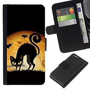 Planetar® Modelo colorido cuero carpeta tirón caso cubierta piel Holster Funda protección Para Apple iPhone 5C ( Witch Black Cat Full Moon )