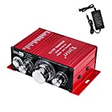 Car Audio Amplifier with Power Cord DC 12V 3A, 20W + 20W Dual Channel Digital Mini HiFi Stereo Power Amplifier Handover AMP CD DVD MP3 PC (Amplifier+Adapter)