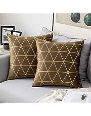 MIULEE Fluwelen kussenhoes vergulde gooien kussenhoezen met gouden lijnen driehoek patroon vierkante decoratieve zachte huis voor bank woonkamer slaapkamer