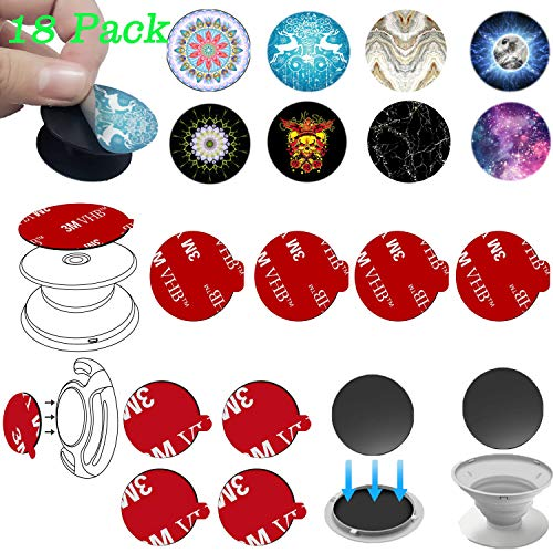 8 Pack 3M Sticky Adhesive for Pop Stand and 8 Pack Fashion Stickers Skin Decal Kit for Pop Mount Holder - Customized Your Pop Grip