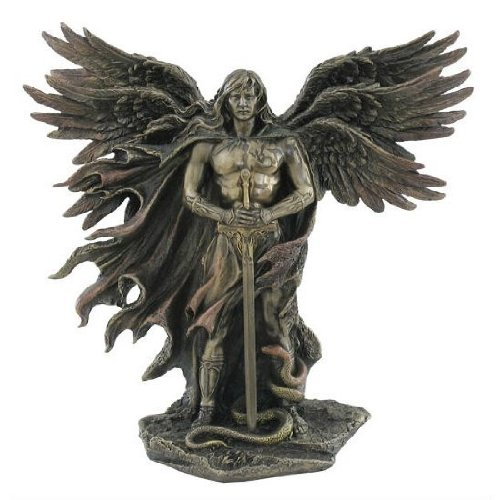 Sword Statue (Six Winged Guardian Angel with Sword and Serpent 11 Inch Colored Cold Cast Bronze Statue)